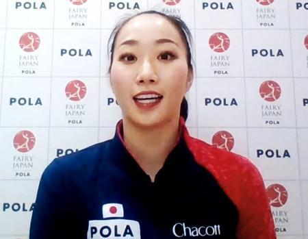 オンラインで取材に応じる新体操日本代表「フェアリージャパン」の杉本早裕吏主将=18日