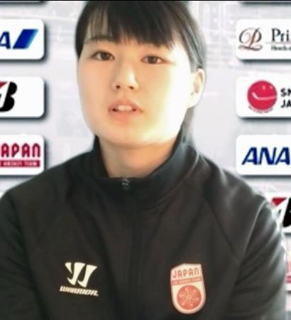 オンラインで取材に応じるアイスホッケー女子日本代表の志賀葵=19日