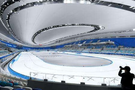 2022年北京冬季五輪でスピードスケートが行われる会場=31日、北京(共同)
