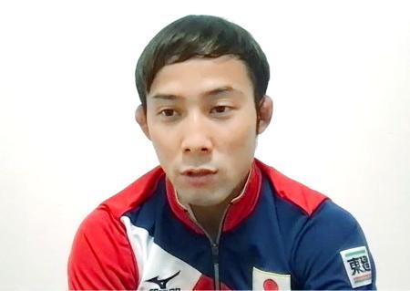 オンラインで取材に応じる柔道男子60キロ級の高藤直寿=3月30日