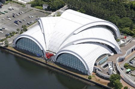 東京五輪水球の本番会場、東京辰巳国際水泳場=東京都江東区