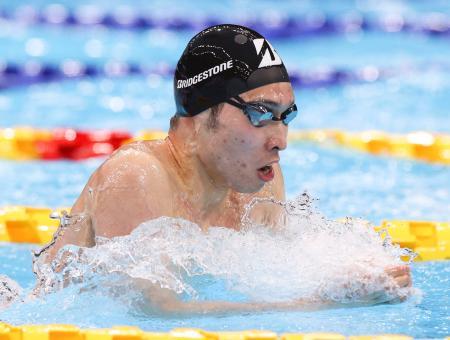 男子200メートル個人メドレー決勝 2位に入った萩野公介の平泳ぎ=東京アクアティクスセンター