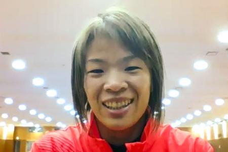 オンラインで取材に応じるレスリング女子57キロ級の川井梨紗子=8日