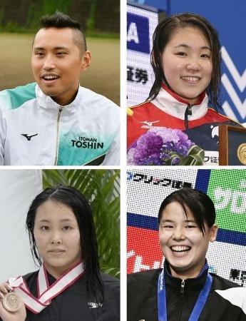 左上から時計回りに競泳の東京五輪代表に決まった塩浦慎理、白井璃緒、池本凪沙、増田葵