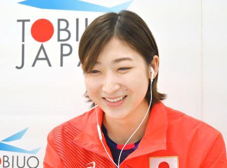 オンラインで報道陣の取材に応じる競泳女子の池江璃花子=14日、東京都北区(日本水泳連盟提供)