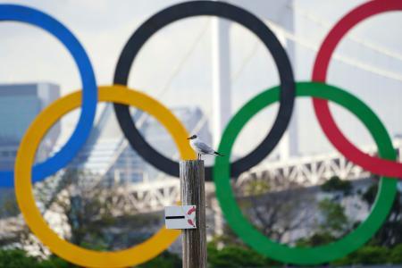 東京・お台場に設置されたオリンピックのモニュメント=8日(AP=共同)