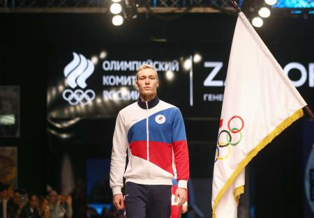 東京五輪に向けてデザインされたロシア代表のユニホーム=14日、モスクワ(タス=共同)