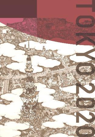 画家山口晃氏が東京タワーを中心に描いた俯瞰図を使った、競技会場などを彩る装飾デザイン((C)Tokyo2020)