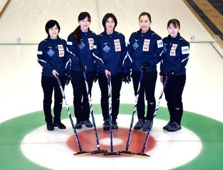 練習を公開し、ポーズをとる吉村紗也香(中央)ら北海道銀行の選手たち=札幌市