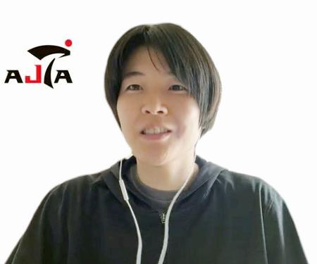 オンラインで取材に応じるテコンドー女子57キロ級の浜田真由=21日