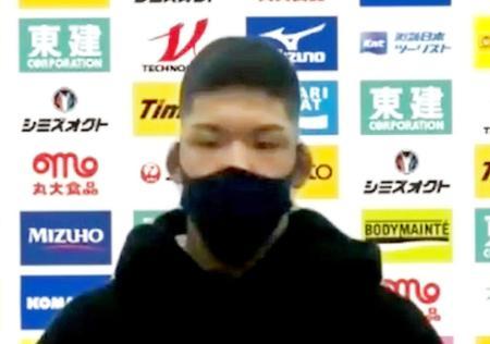 1日、オンラインで取材に応じる柔道男子73キロ級の大野将平