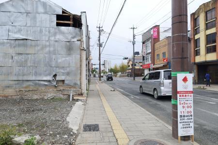 聖火リレーのコースとなっている熊本県人吉市の市街地=4月