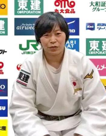 オンラインで取材に応じる柔道女子78キロ級の浜田尚里=4日