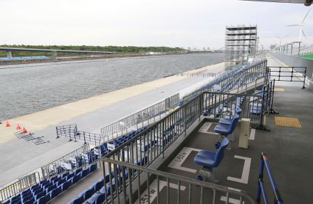 ボートの東京五輪アジア・オセアニア予選の会場、海の森水上競技場。5日の競技は強風のため中止となった=東京都江東区