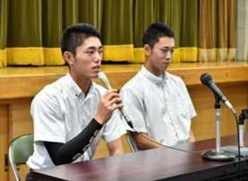 今井「指名球団で頑張る」 入江は進学、投手希望 作新学院高の2選手会見