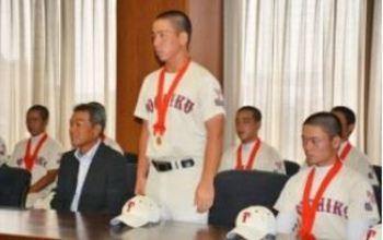 東筑 健闘誓う 北九州市長に甲子園出場報告