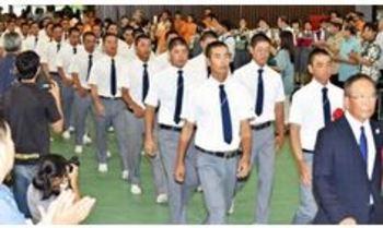 興南 学校で壮行会 「最後まで残る準備万端」
