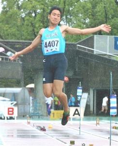 男子走り幅Vの福田、悪条件でも手応え 静岡新人陸上
