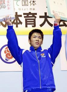 「高校3冠」達成!宍戸がウエイト少年・77キロ優勝 いわて国体