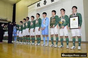 山田高、壮行式で意気込み 全国高校サッカー選手権出場