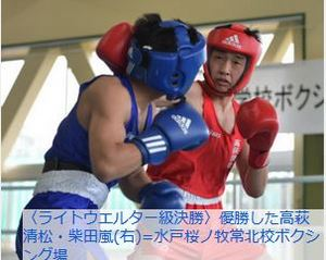 ボクシング 関東大会茨城予選 ライトウエルター級は柴田(高萩清松)