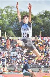 陸上男子走り幅跳び、横手城南の土肥6位入賞 高校総体