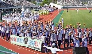 熊本県選手団「感謝」 いわて国体で横断幕