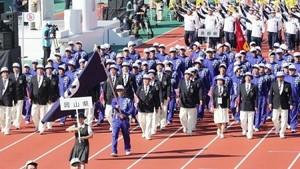 岩手国体開幕、力強く行進 3年連続10位台前半挑む岡山