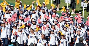 山形県選手団、堂々と行進 いわて国体・総合開会式