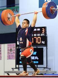 岩手国体 札琴似工の松本優勝 重量挙げ少年男子105キロ級