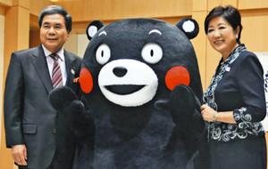 熊本でも五輪・パラリンピック旗 小池知事、熊本県知事と会談