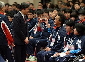皇太子さま岩手県入り いわて大会選手団に励ましの言葉