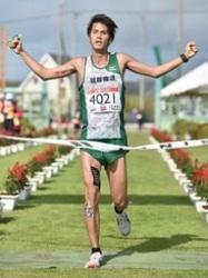 久米島マラソン 与那嶺恭兵選手と赤坂玲子選手が初V