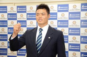 DeNA5位指名、細川成也 「元気や勇気与える選手に」