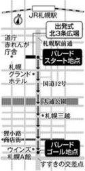 日本ハム 優勝パレード 札幌中心部1キロ 11月20日