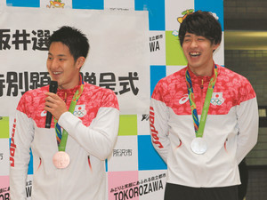 五輪競泳メダルの瀬戸、坂井 所沢市が特別顕彰