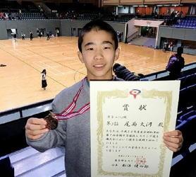 レスリング 尾西(鳥栖1年)が3位 中学選抜選手権