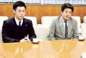 巨人 育成の磐田東高の加藤さん 市長に入団報告