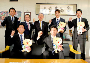 BCリーグ 武蔵の新入団4選手、熊谷市長に決意