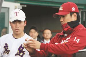 プロ野球 「夢の向こうに」則本らが大津で高校野球部員に指導