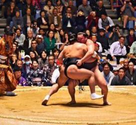 はっけよい!横綱対決に大歓声 大相撲沖縄場所に3500人