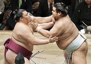 御嶽海、高安を寄り切り5勝目 大相撲初場所
