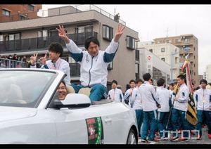 3連覇の喜び分かち合い 相模原で青学陸上部がパレード