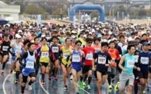 笠岡湾干拓地を2千人疾走 べいふぁーむマラソン