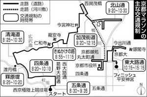 19日、京都マラソンで交通規制
