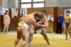 高安関、高校相撲部員らに胸貸す 西岩親方と京都で教室