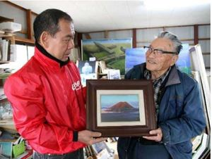 カープ 赤富士に託す日本一 由宇の画家、金重さん 球団に寄贈へ