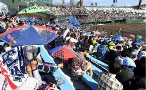 7600人鴨池沸く 7年ぶりプロ野球オープン戦
