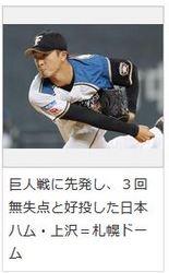 日本ハムの上沢が3回無失点 日3―0巨