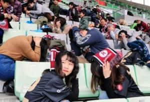 J1神戸-仙台でPV 防災訓練や募金活動なども